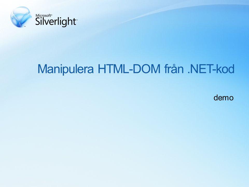 Manipulera HTML-DOM från.NET-kod demo
