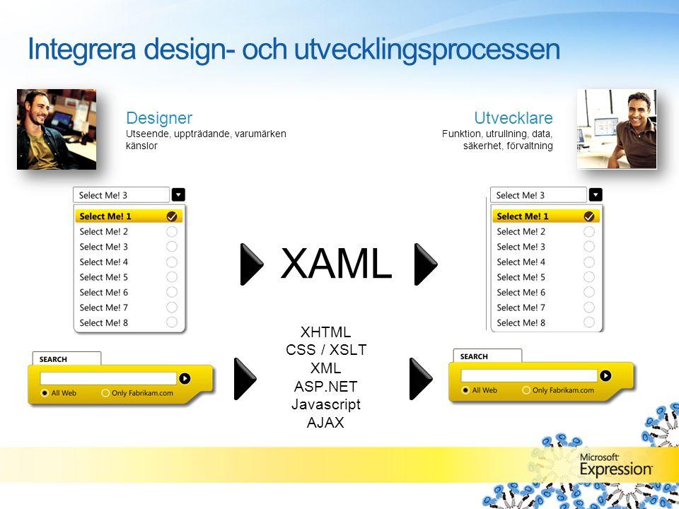 C++ C# VB.NET Paper JPG / TIFF PSD PPT MOV / WMV XAML Non Standards 'Dirty Code' Mockups XHTML CSS / XSLT XML ASP.NET Javascript AJAX Integrera design- och utvecklingsprocessen Designer Utseende, uppträdande, varumärken känslor Utvecklare Funktion, utrullning, data, säkerhet, förvaltning
