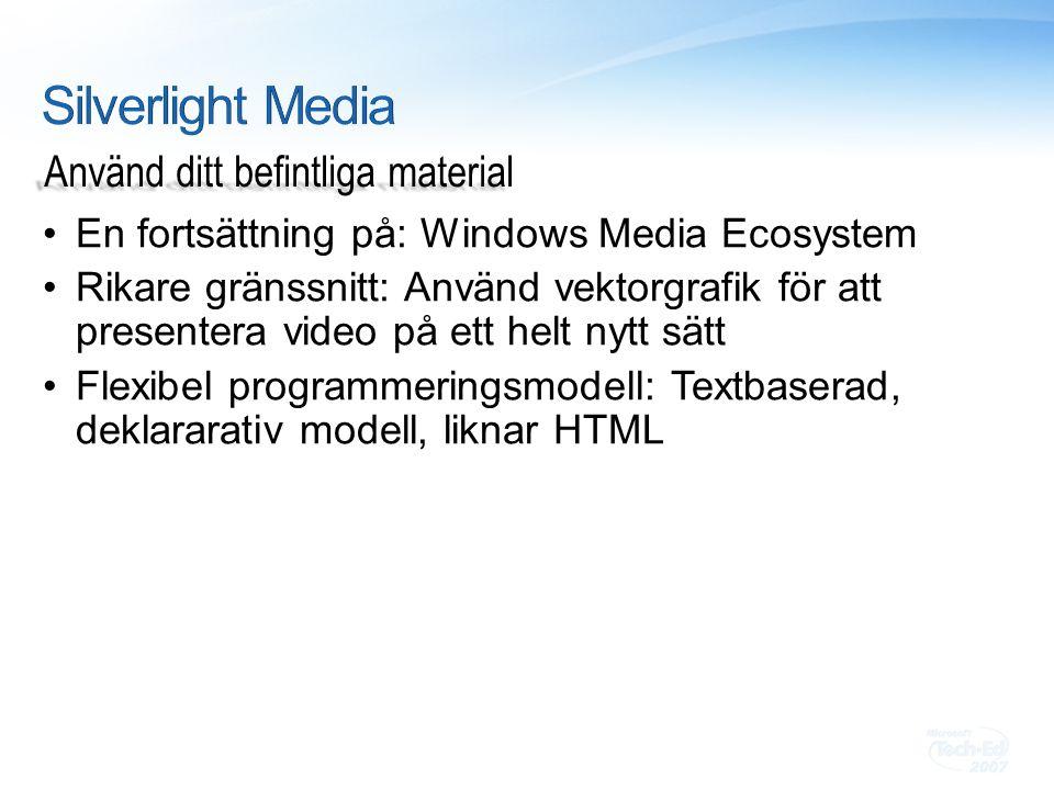 En fortsättning på: Windows Media Ecosystem Rikare gränssnitt: Använd vektorgrafik för att presentera video på ett helt nytt sätt Flexibel programmeringsmodell: Textbaserad, deklararativ modell, liknar HTML Använd ditt befintliga material