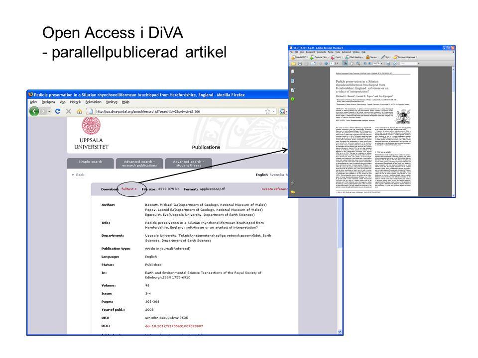 Open Access i DiVA - parallellpublicerad artikel