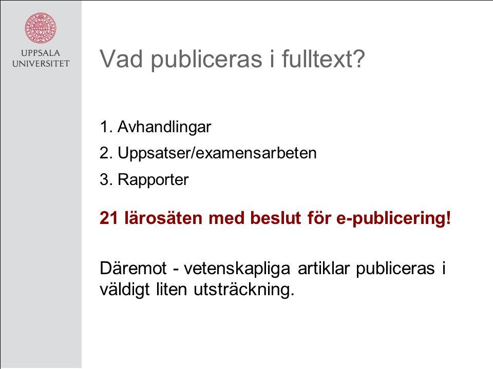 Vad publiceras i fulltext. 1. Avhandlingar 2. Uppsatser/examensarbeten 3.