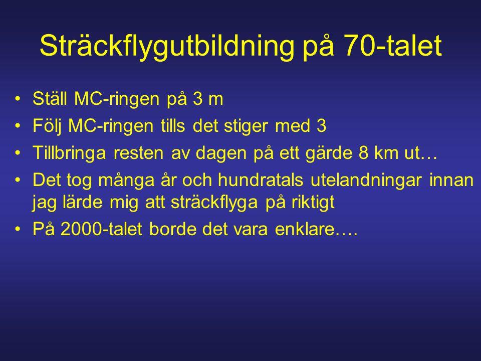 Sträckflygutbildning på 70-talet Ställ MC-ringen på 3 m Följ MC-ringen tills det stiger med 3 Tillbringa resten av dagen på ett gärde 8 km ut… Det tog