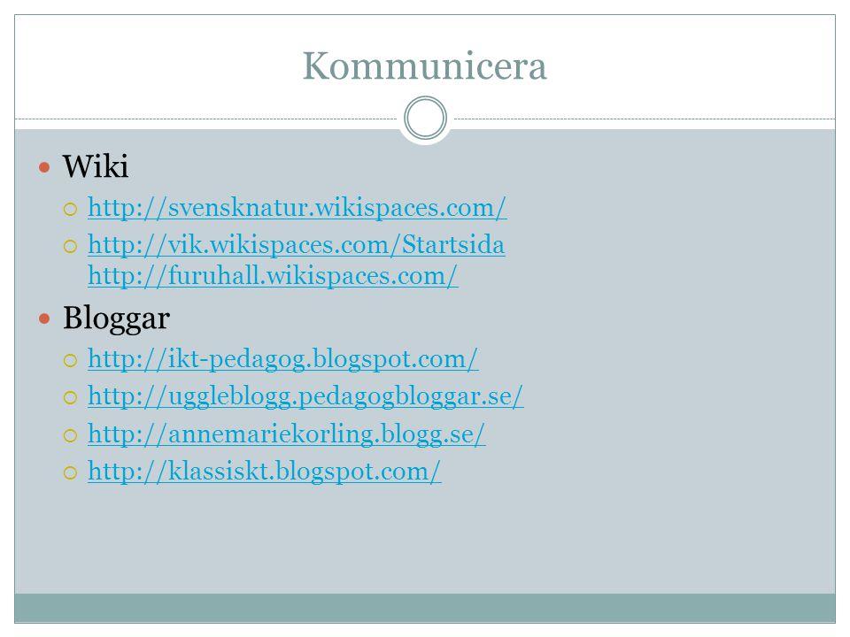 Kommunicera Wiki  http://svensknatur.wikispaces.com/ http://svensknatur.wikispaces.com/  http://vik.wikispaces.com/Startsida http://furuhall.wikispaces.com/ http://vik.wikispaces.com/Startsida http://furuhall.wikispaces.com/ Bloggar  http://ikt-pedagog.blogspot.com/ http://ikt-pedagog.blogspot.com/  http://uggleblogg.pedagogbloggar.se/ http://uggleblogg.pedagogbloggar.se/  http://annemariekorling.blogg.se/ http://annemariekorling.blogg.se/  http://klassiskt.blogspot.com/ http://klassiskt.blogspot.com/