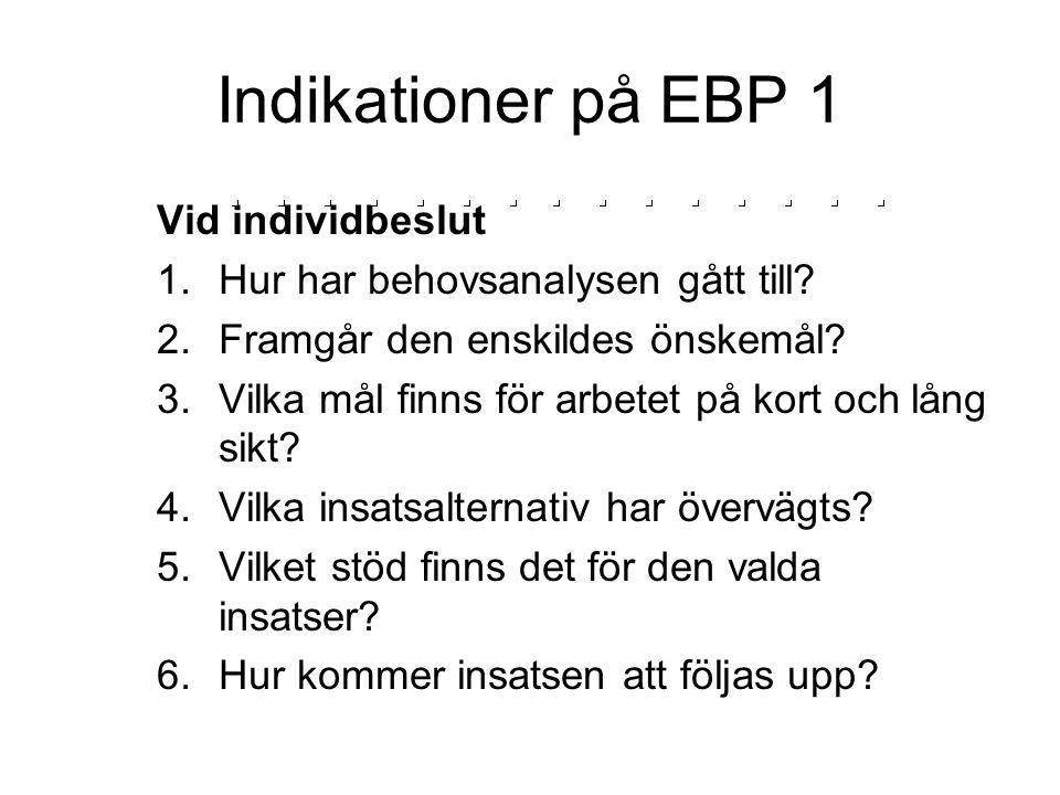 Indikationer på EBP 1 Vid individbeslut 1.Hur har behovsanalysen gått till? 2.Framgår den enskildes önskemål? 3.Vilka mål finns för arbetet på kort oc