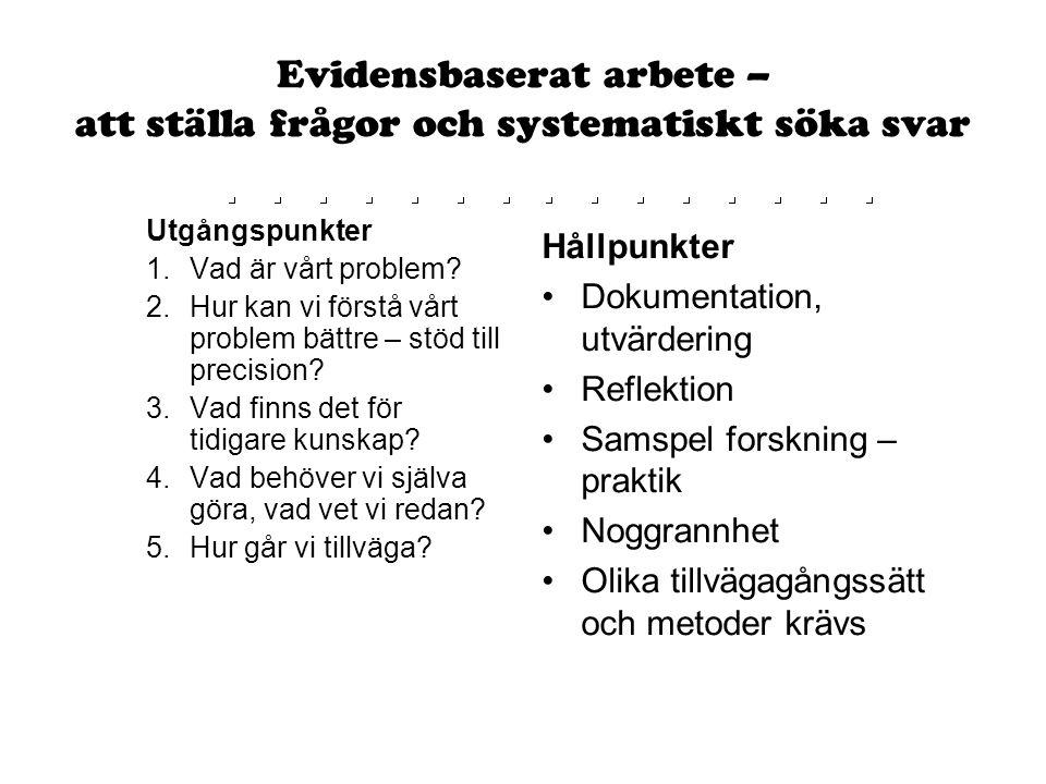 Evidensbaserat arbete – att ställa frågor och systematiskt söka svar Utgångspunkter 1.Vad är vårt problem? 2.Hur kan vi förstå vårt problem bättre – s