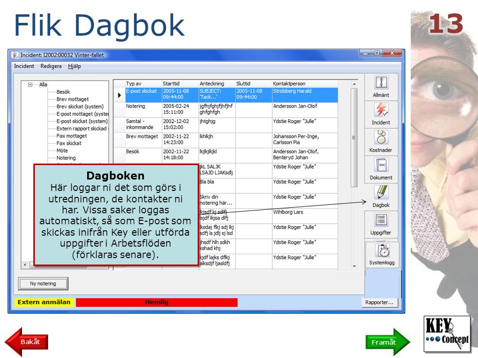 Flik Dagbok Framåt Bakåt Dagboken Här loggar ni det som görs i utredningen, de kontakter ni har.