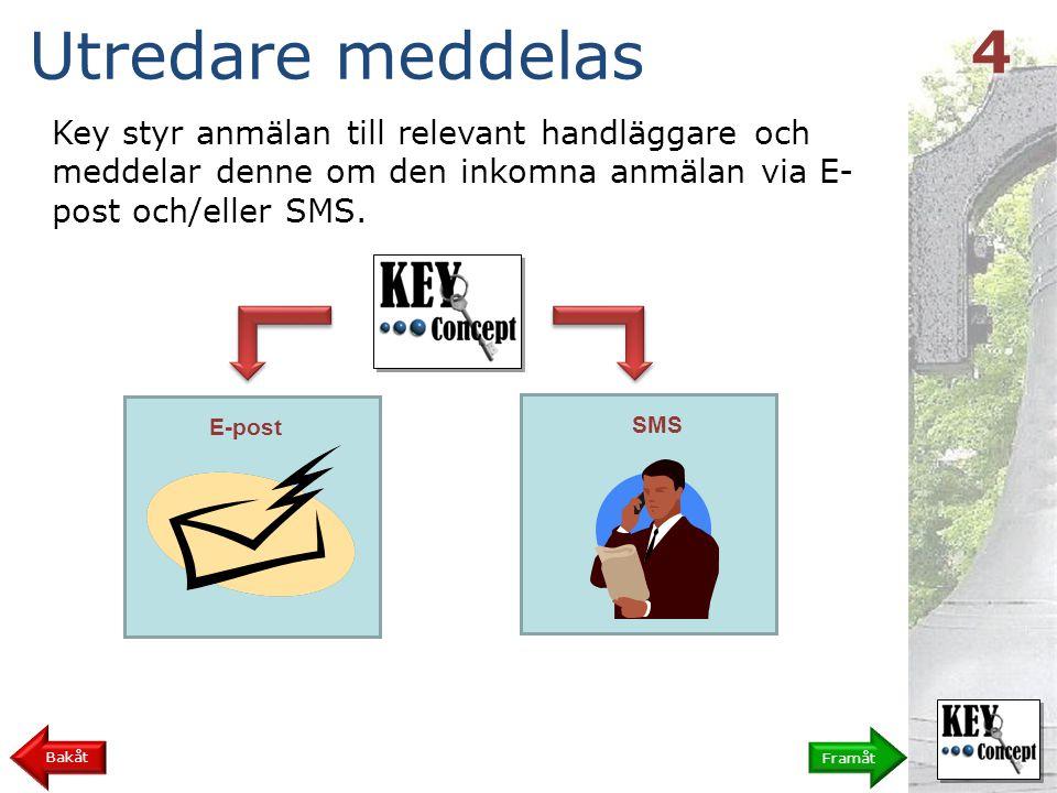 Key styr anmälan till relevant handläggare och meddelar denne om den inkomna anmälan via E- post och/eller SMS.