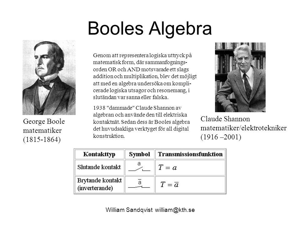 William Sandqvist william@kth.se Booles Algebra George Boole matematiker (1815-1864) Claude Shannon matematiker/elektrotekniker (1916 –2001) Genom att representera logiska uttryck på matematisk form, där sammanfognings- orden OR och AND motsvarade ett slags addition och multiplikation, blev det möjligt att med en algebra undersöka om kompli- cerade logiska utsagor och resonemang, i slutändan var sanna eller falska.