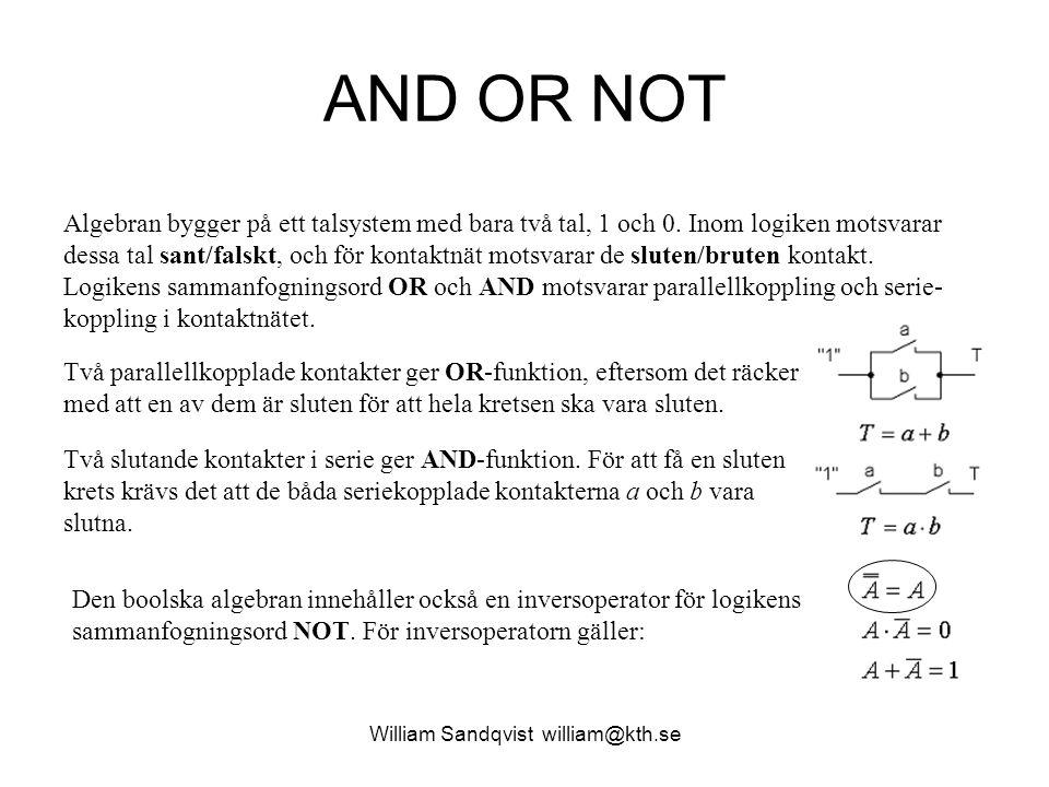 William Sandqvist william@kth.se AND OR NOT Algebran bygger på ett talsystem med bara två tal, 1 och 0. Inom logiken motsvarar dessa tal sant/falskt,