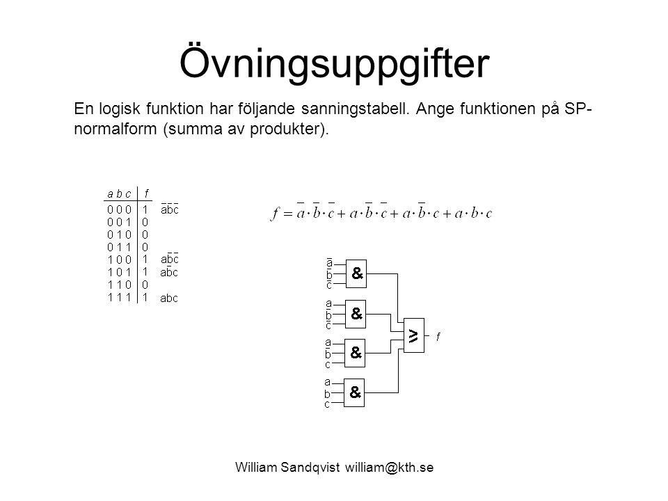 William Sandqvist william@kth.se Övningsuppgifter En logisk funktion har följande sanningstabell. Ange funktionen på SP- normalform (summa av produkte