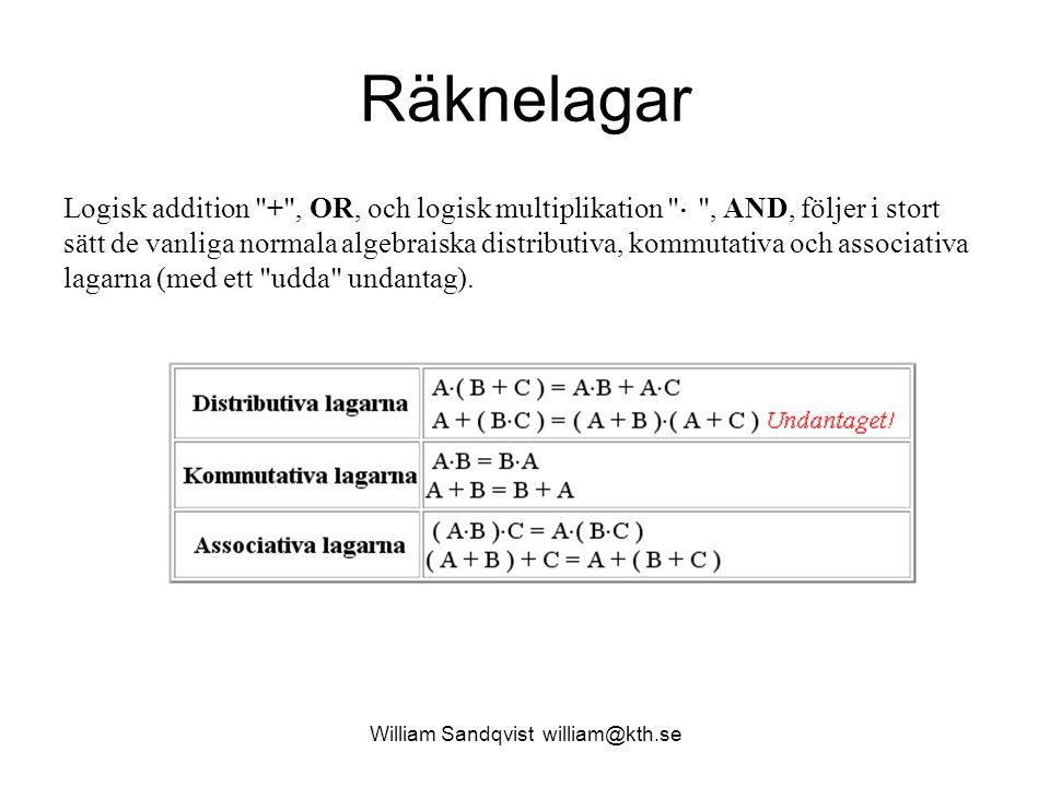 William Sandqvist william@kth.se Räknelagar Logisk addition + , OR, och logisk multiplikation  , AND, följer i stort sätt de vanliga normala algebraiska distributiva, kommutativa och associativa lagarna (med ett udda undantag).