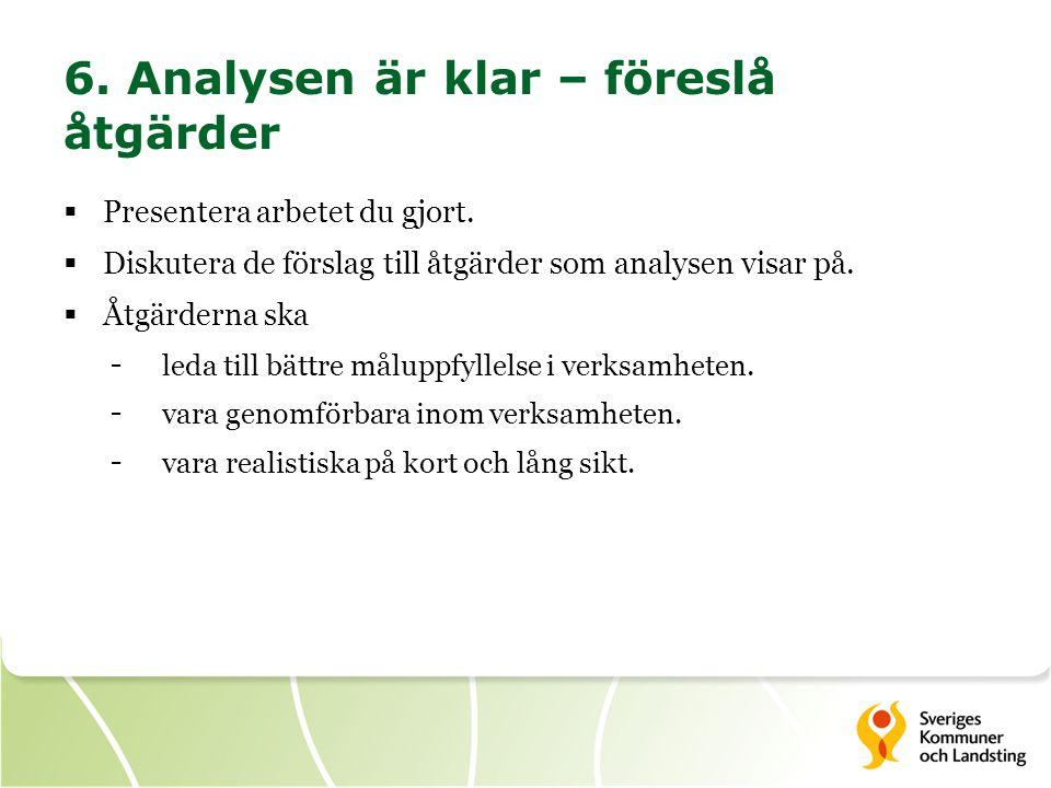 6. Analysen är klar – föreslå åtgärder  Presentera arbetet du gjort.  Diskutera de förslag till åtgärder som analysen visar på.  Åtgärderna ska - l
