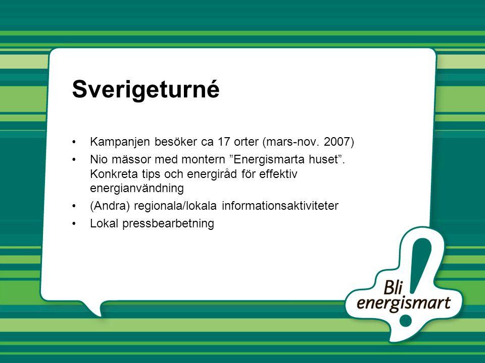 Sverigeturné Kampanjen besöker ca 17 orter (mars-nov.
