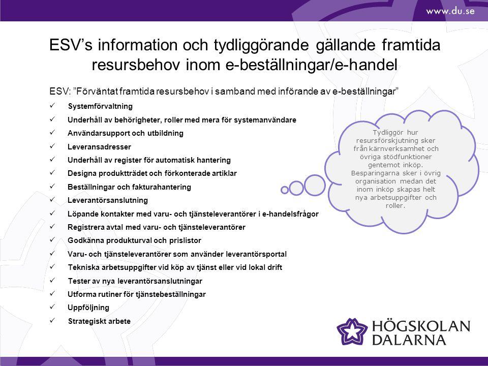 ESV's information och tydliggörande gällande framtida resursbehov inom e-beställningar/e-handel ESV: Förväntat framtida resursbehov i samband med införande av e-beställningar Systemförvaltning Underhåll av behörigheter, roller med mera för systemanvändare Användarsupport och utbildning Leveransadresser Underhåll av register för automatisk hantering Designa produktträdet och förkonterade artiklar Beställningar och fakturahantering Leverantörsanslutning Löpande kontakter med varu- och tjänsteleverantörer i e-handelsfrågor Registrera avtal med varu- och tjänsteleverantörer Godkänna produkturval och prislistor Varu- och tjänsteleverantörer som använder leverantörsportal Tekniska arbetsuppgifter vid köp av tjänst eller vid lokal drift Tester av nya leverantörsanslutningar Utforma rutiner för tjänstebeställningar Uppföljning Strategiskt arbete Tydliggör hur resursförskjutning sker från kärnverksamhet och övriga stödfunktioner gentemot inköp.