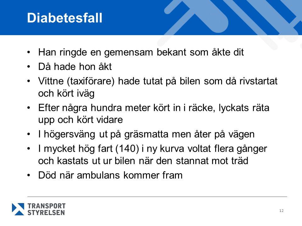 Diabetesfall Han ringde en gemensam bekant som åkte dit Då hade hon åkt Vittne (taxiförare) hade tutat på bilen som då rivstartat och kört iväg Efter