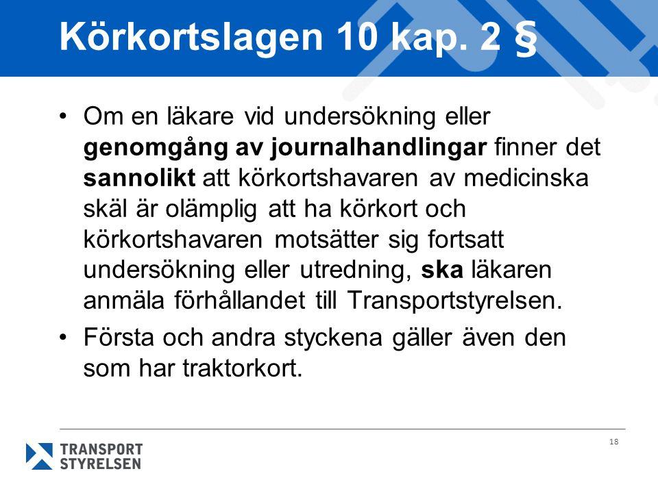 18 Körkortslagen 10 kap. 2 § Om en läkare vid undersökning eller genomgång av journalhandlingar finner det sannolikt att körkortshavaren av medicinska