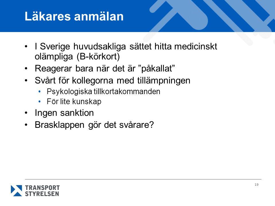 """19 Läkares anmälan I Sverige huvudsakliga sättet hitta medicinskt olämpliga (B-körkort) Reagerar bara när det är """"påkallat"""" Svårt för kollegorna med t"""