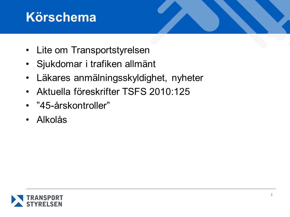 """2 Körschema Lite om Transportstyrelsen Sjukdomar i trafiken allmänt Läkares anmälningsskyldighet, nyheter Aktuella föreskrifter TSFS 2010:125 """"45-årsk"""