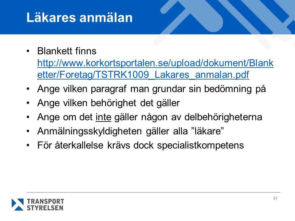 22 Läkares anmälan Blankett finns http://www.korkortsportalen.se/upload/dokument/Blank etter/Foretag/TSTRK1009_Lakares_anmalan.pdf Ange vilken paragra