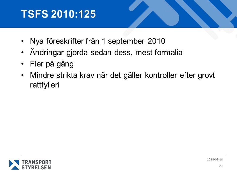 TSFS 2010:125 Nya föreskrifter från 1 september 2010 Ändringar gjorda sedan dess, mest formalia Fler på gång Mindre strikta krav när det gäller kontro