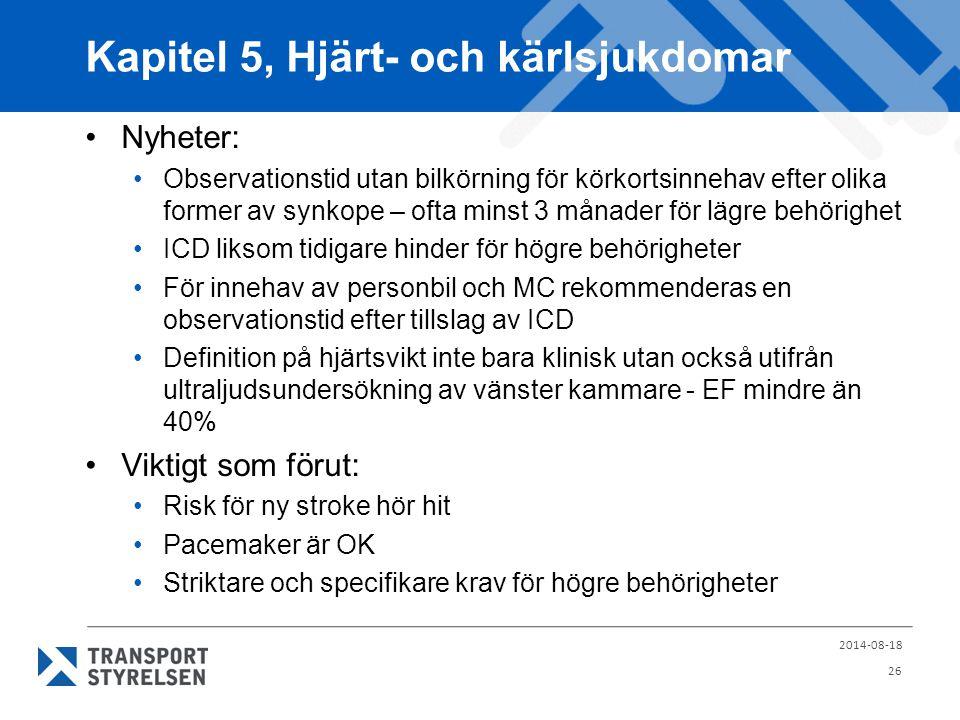 Kapitel 5, Hjärt- och kärlsjukdomar Nyheter: Observationstid utan bilkörning för körkortsinnehav efter olika former av synkope – ofta minst 3 månader