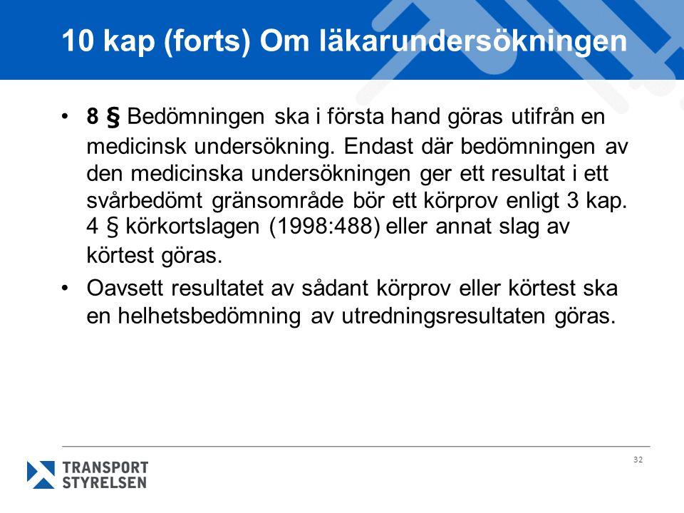 32 10 kap (forts) Om läkarundersökningen 8 § Bedömningen ska i första hand göras utifrån en medicinsk undersökning. Endast där bedömningen av den medi