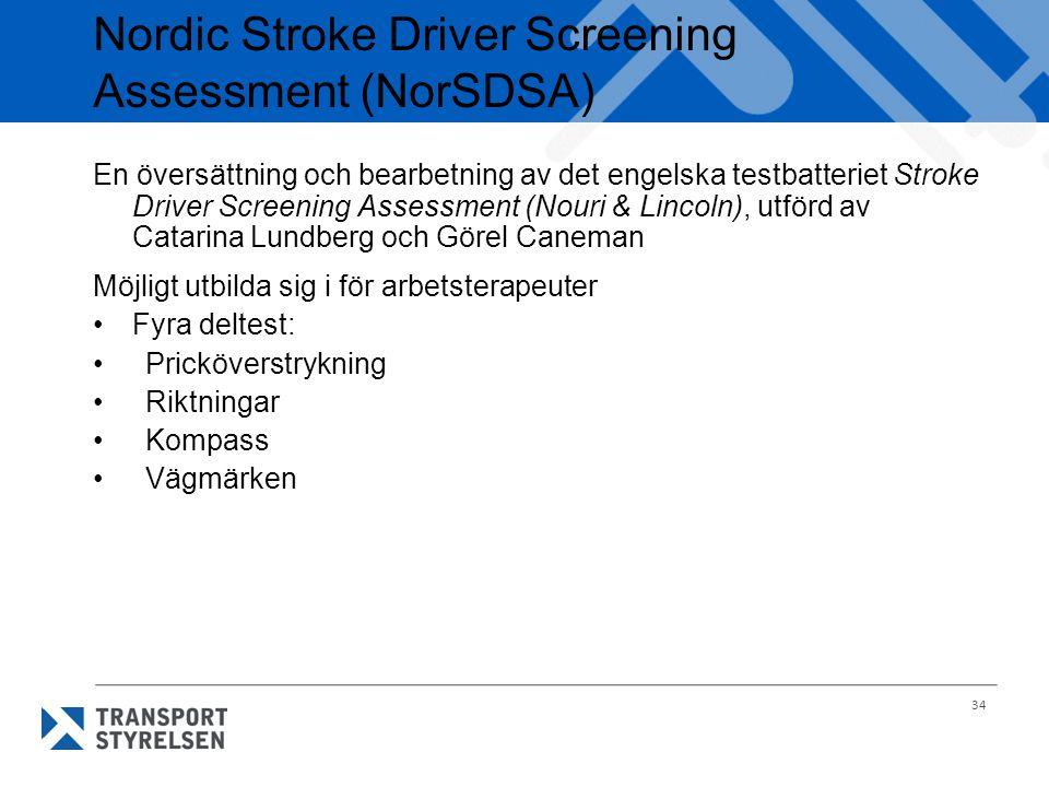 34 Nordic Stroke Driver Screening Assessment (NorSDSA) En översättning och bearbetning av det engelska testbatteriet Stroke Driver Screening Assessmen