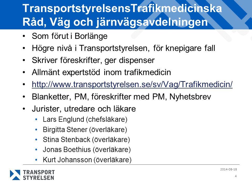 TransportstyrelsensTrafikmedicinska Råd, Väg och järnvägsavdelningen Som förut i Borlänge Högre nivå i Transportstyrelsen, för knepigare fall Skriver