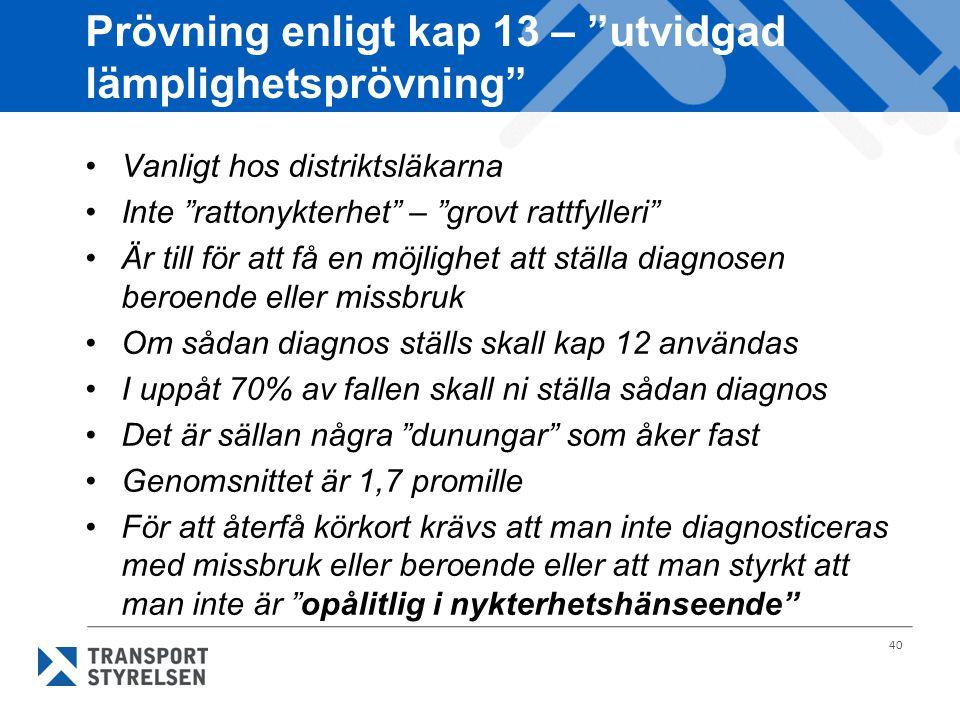 """40 Prövning enligt kap 13 – """"utvidgad lämplighetsprövning"""" Vanligt hos distriktsläkarna Inte """"rattonykterhet"""" – """"grovt rattfylleri"""" Är till för att få"""