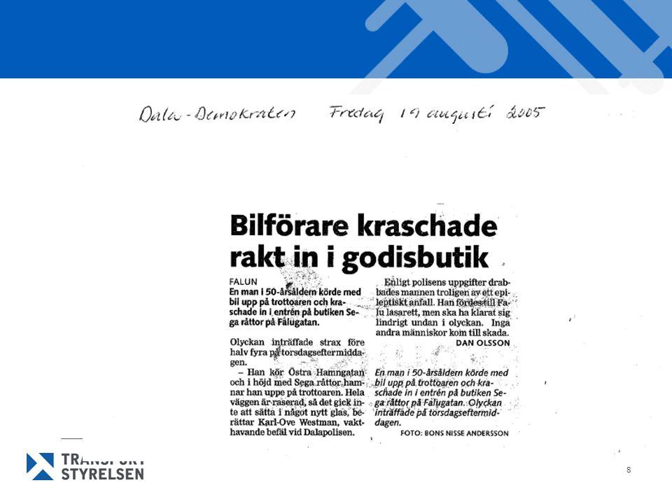 19 Läkares anmälan I Sverige huvudsakliga sättet hitta medicinskt olämpliga (B-körkort) Reagerar bara när det är påkallat Svårt för kollegorna med tillämpningen Psykologiska tillkortakommanden För lite kunskap Ingen sanktion Brasklappen gör det svårare?