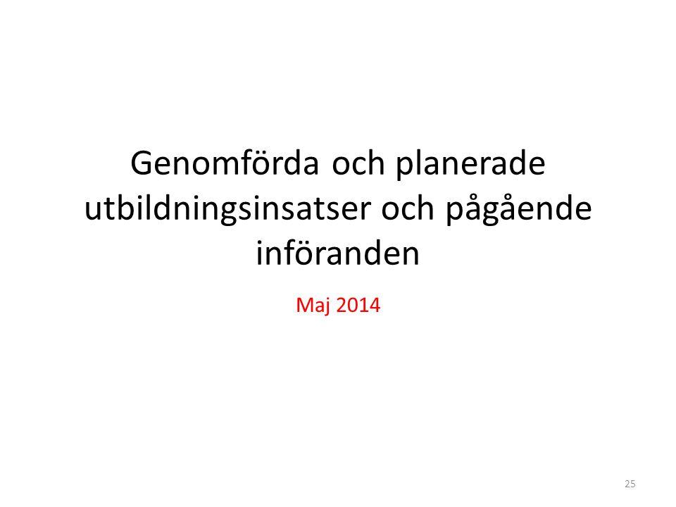 Genomförda och planerade utbildningsinsatser och pågående införanden Maj 2014 25