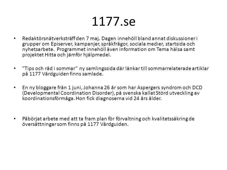 1177.se Redaktörsnätverksträff den 7 maj.