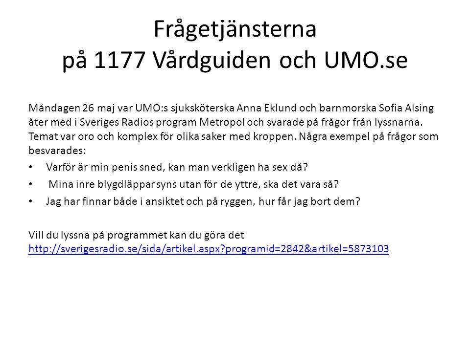 Frågetjänsterna på 1177 Vårdguiden och UMO.se Måndagen 26 maj var UMO:s sjuksköterska Anna Eklund och barnmorska Sofia Alsing åter med i Sveriges Radios program Metropol och svarade på frågor från lyssnarna.