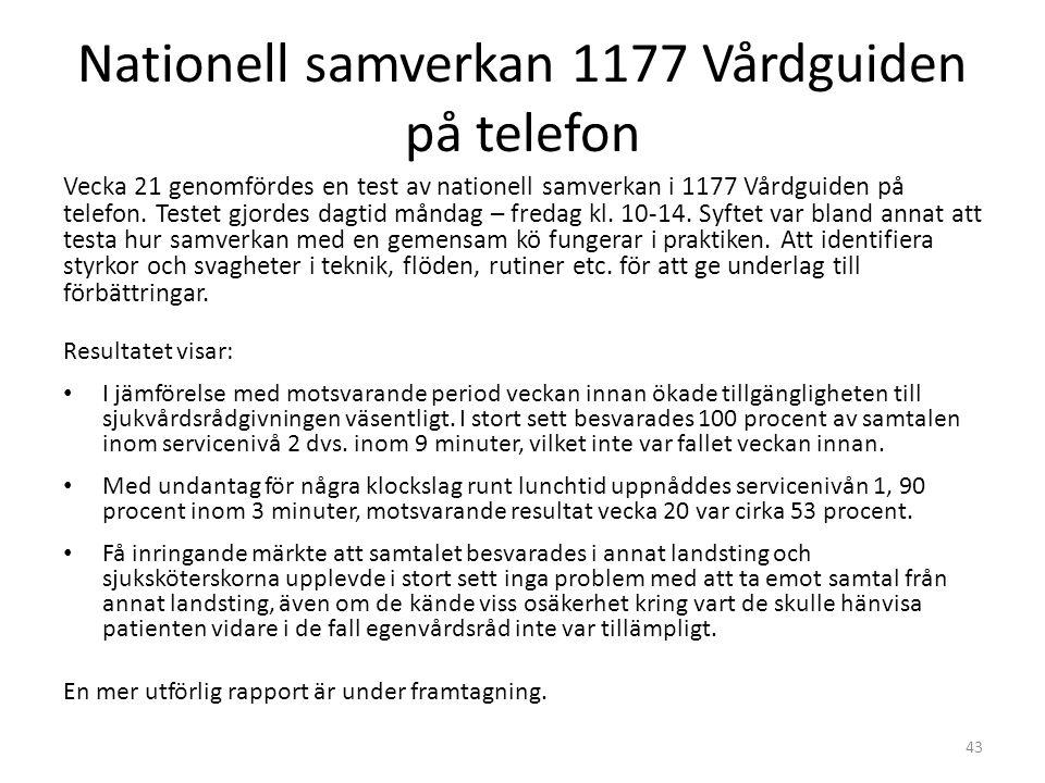 Nationell samverkan 1177 Vårdguiden på telefon Vecka 21 genomfördes en test av nationell samverkan i 1177 Vårdguiden på telefon.