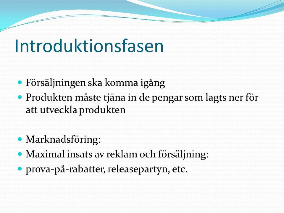 Introduktionsfasen Försäljningen ska komma igång Produkten måste tjäna in de pengar som lagts ner för att utveckla produkten Marknadsföring: Maximal i