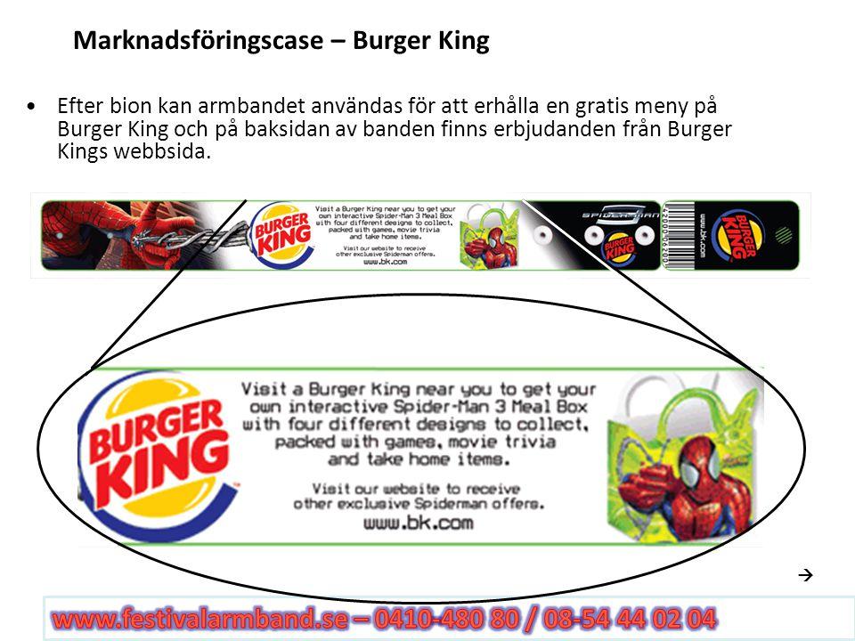 Scenario Marketing – Burger King Sponsor Dessutom kan hålbiljetten avlägsnas och användas för att få ytterligare rabatter på Burger King Dessa hålbiljetter är polulära och samlas i nyckeringar, halsband etc Kampanjen pågick I 6 månader
