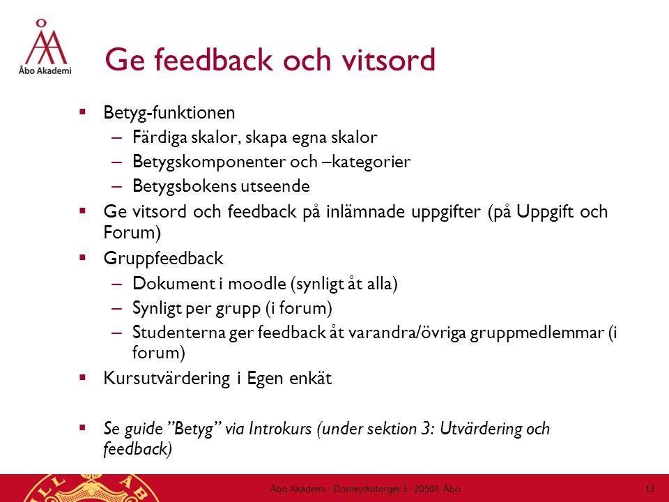 Ge feedback och vitsord  Betyg-funktionen – Färdiga skalor, skapa egna skalor – Betygskomponenter och –kategorier – Betygsbokens utseende  Ge vitsord och feedback på inlämnade uppgifter (på Uppgift och Forum)  Gruppfeedback – Dokument i moodle (synligt åt alla) – Synligt per grupp (i forum) – Studenterna ger feedback åt varandra/övriga gruppmedlemmar (i forum)  Kursutvärdering i Egen enkät  Se guide Betyg via Introkurs (under sektion 3: Utvärdering och feedback) Åbo Akademi - Domkyrkotorget 3 - 20500 Åbo 13