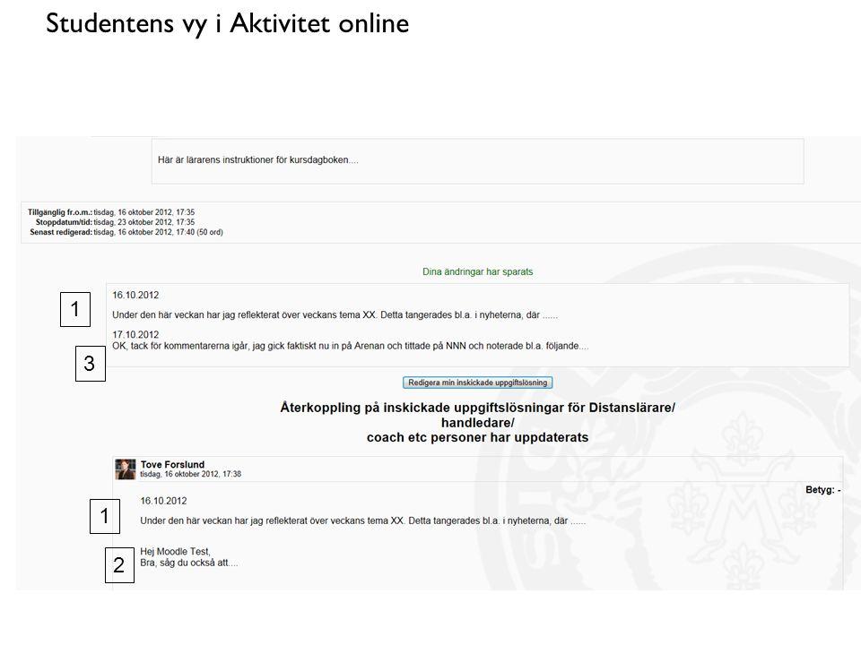 Studentens vy i Aktivitet online 1 1 2 3