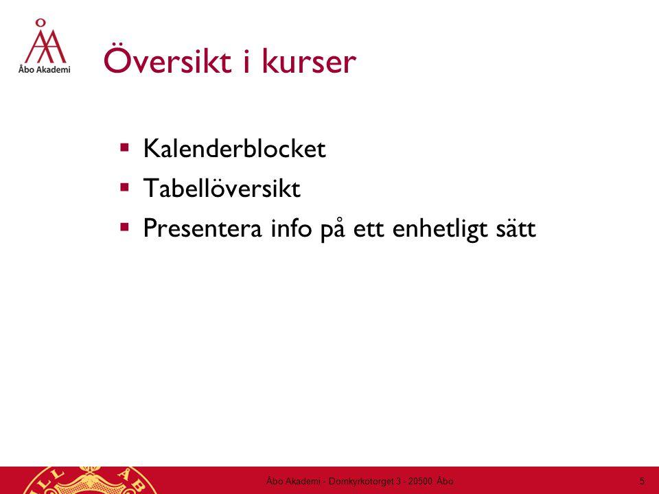 Översikt i kurser  Kalenderblocket  Tabellöversikt  Presentera info på ett enhetligt sätt Åbo Akademi - Domkyrkotorget 3 - 20500 Åbo 5