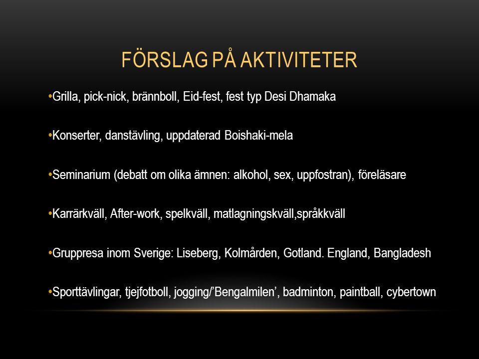 FÖRSLAG PÅ AKTIVITETER Grilla, pick-nick, brännboll, Eid-fest, fest typ Desi Dhamaka Konserter, danstävling, uppdaterad Boishaki-mela Seminarium (debatt om olika ämnen: alkohol, sex, uppfostran), föreläsare Karrärkväll, After-work, spelkväll, matlagningskväll,språkkväll Gruppresa inom Sverige: Liseberg, Kolmården, Gotland.