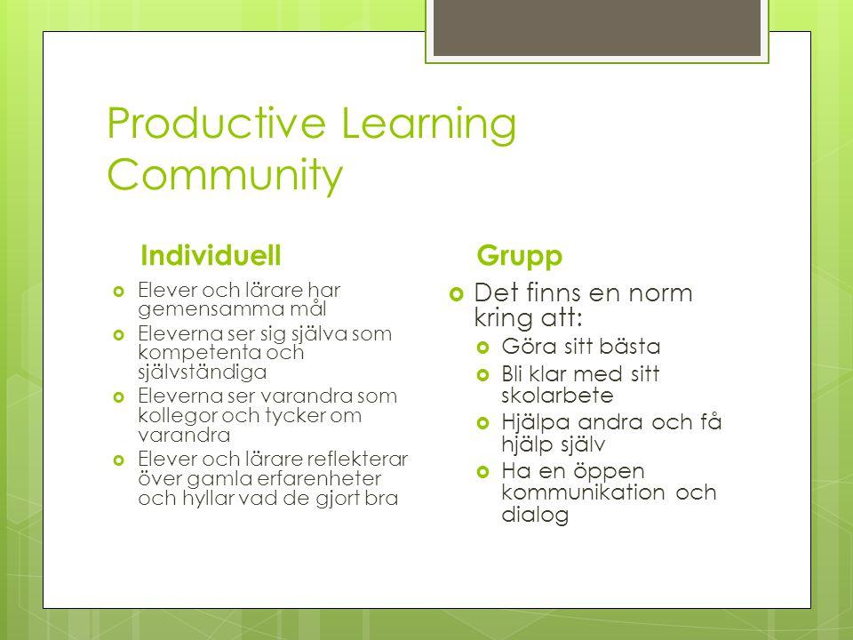 Productive Learning Community Individuell  Elever och lärare har gemensamma mål  Eleverna ser sig själva som kompetenta och självständiga  Eleverna