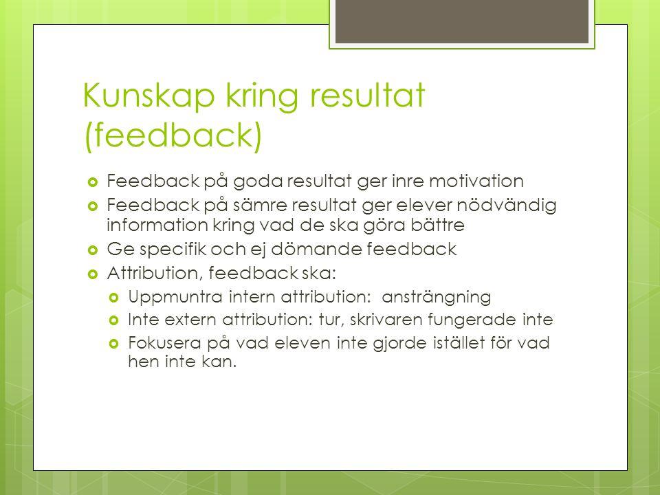 Kunskap kring resultat (feedback)  Feedback på goda resultat ger inre motivation  Feedback på sämre resultat ger elever nödvändig information kring