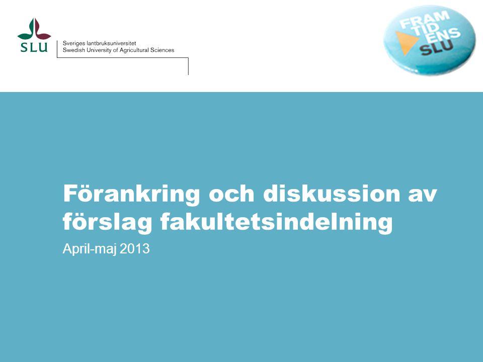 Förankring och diskussion av förslag fakultetsindelning April-maj 2013