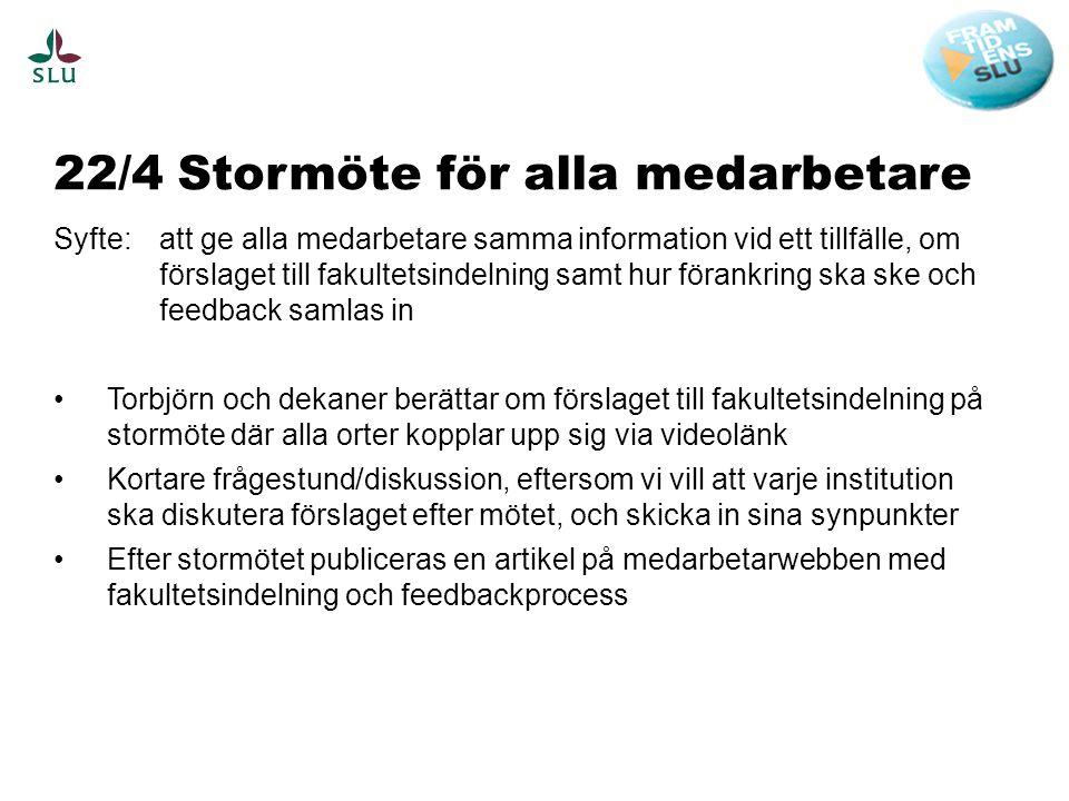 22/4 Stormöte för alla medarbetare Syfte: att ge alla medarbetare samma information vid ett tillfälle, om förslaget till fakultetsindelning samt hur f