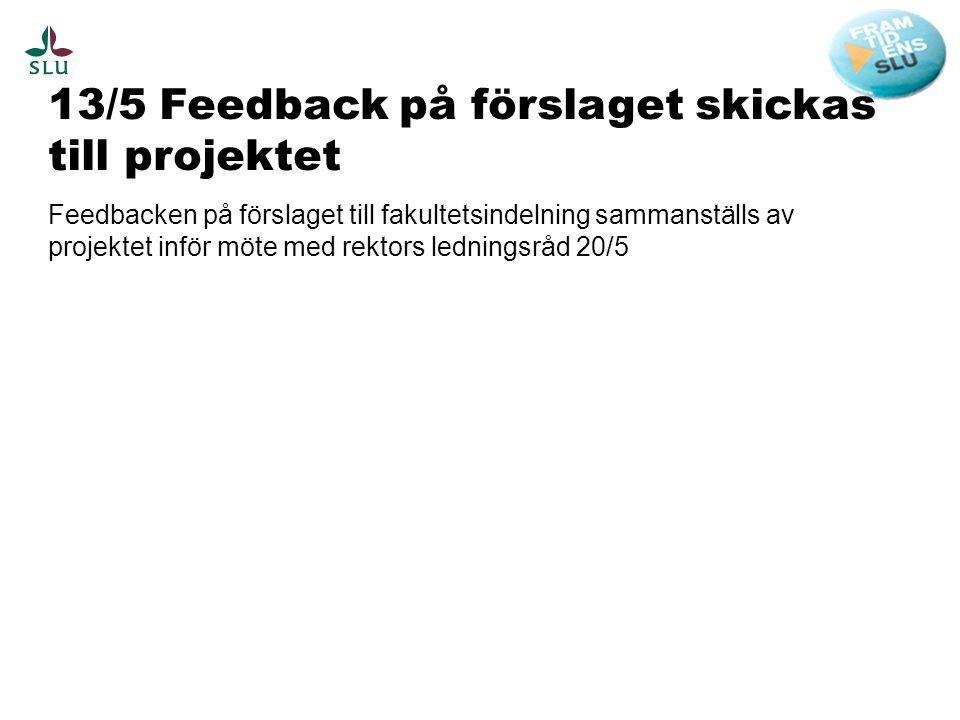 13/5 Feedback på förslaget skickas till projektet Feedbacken på förslaget till fakultetsindelning sammanställs av projektet inför möte med rektors led