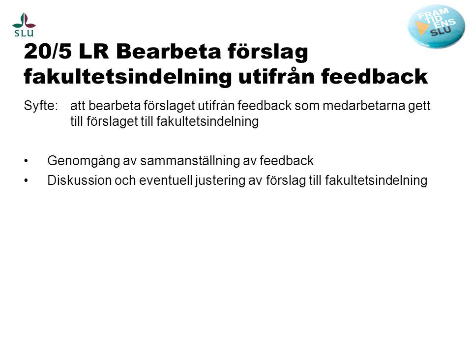 20/5 LR Bearbeta förslag fakultetsindelning utifrån feedback Syfte: att bearbeta förslaget utifrån feedback som medarbetarna gett till förslaget till