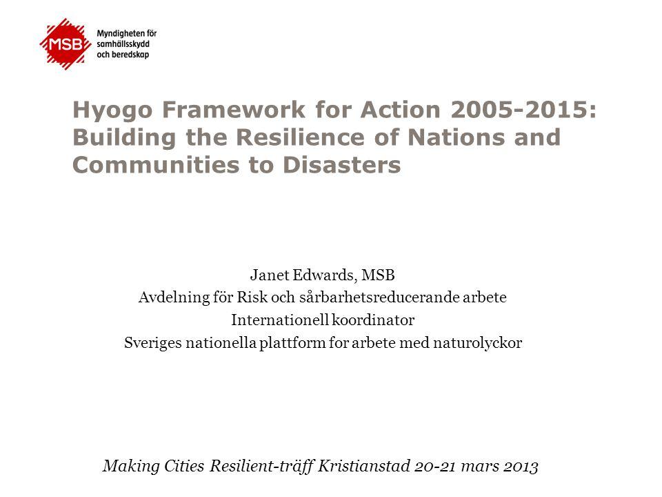 Hyogo Framework for Action 2005-2015: Building the Resilience of Nations and Communities to Disasters Nuvarande HFA:  Nationell, lokal nivå  Riskbedömningar och tidigt varning,  Forskning och kunskapsuppbyggnad  Reducera underliggande riskfaktorer  Beredskap och insatser Ny handlingsplan Förhandlas av FN-länder - januari 2015 (POST HFA eller HFA 2) Administreras av UNISDR Nuvarande HFA:  Nationell, lokal nivå  Riskbedömningar och tidigt varning,  Forskning och kunskapsuppbyggnad  Reducera underliggande riskfaktorer  Beredskap och insatser Ny handlingsplan Förhandlas av FN-länder - januari 2015 (POST HFA eller HFA 2) Administreras av UNISDR 168 FN-länder godkände HFA