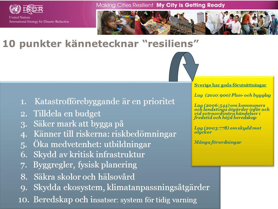 """10 punkter kännetecknar """"resiliens"""" 1. Katastrofförebyggande är en prioritet 2. Tilldela en budget 3. Säker mark att bygga på 4. Känner till riskerna:"""