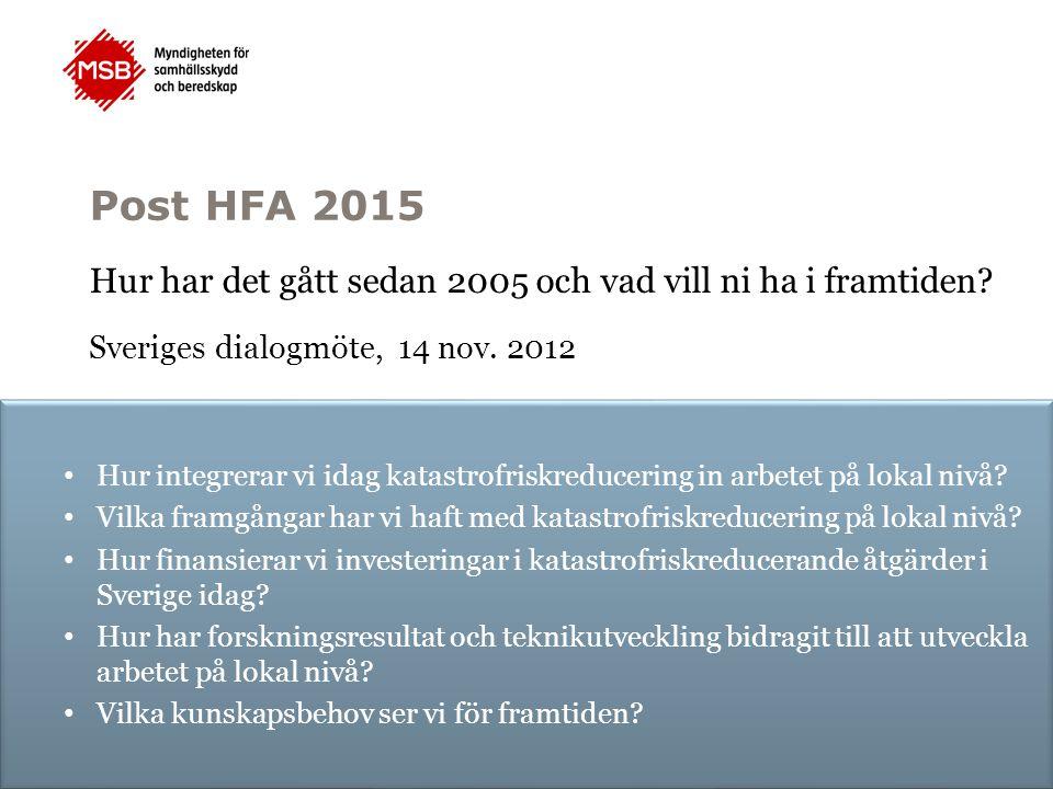 Post HFA 2015 Hur har det gått sedan 2005 och vad vill ni ha i framtiden? Sveriges dialogmöte, 14 nov. 2012 Hur integrerar vi idag katastrofriskreduce