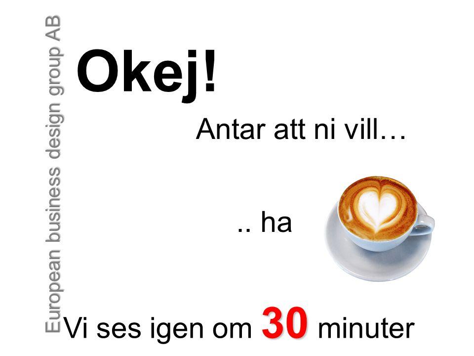 European business design group AB Okej! Antar att ni vill….. ha 30 Vi ses igen om 30 minuter